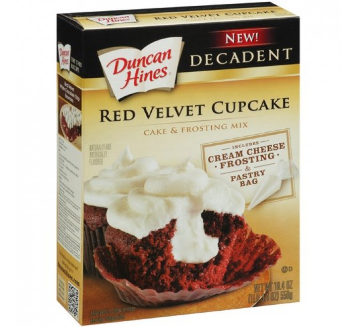 Duncan Hines Decadent Red Velvet Cupcake Cake & Frosting Mix (550g) USfoodz