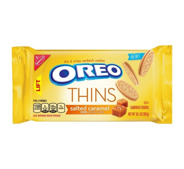 Oreo Golden Thins Salted Caramel Crème Sandwich Cookies (287g)