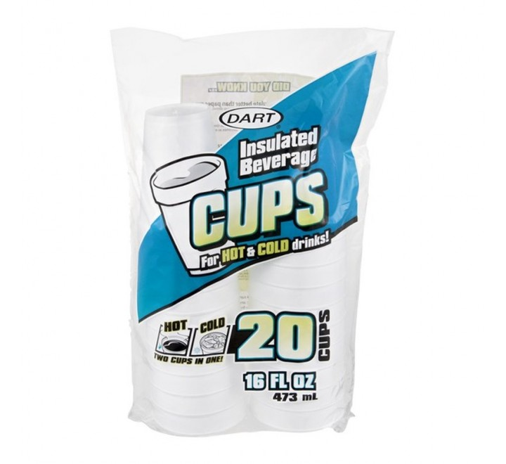 Dart Insulated Beverage Cups, 20-Pack (473ml)