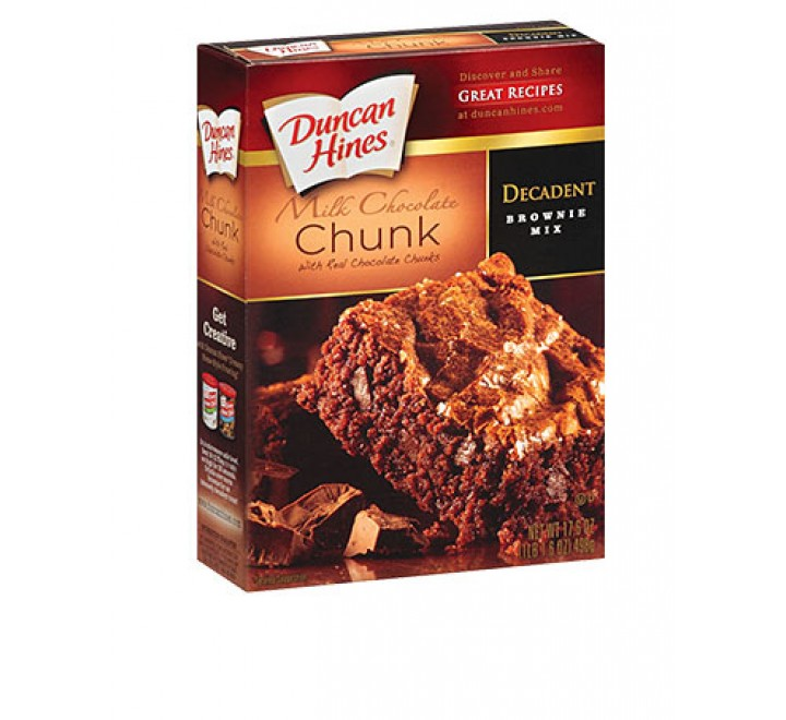 Duncan Hines Decadent Milk Chocolate Chunk Brownie Mix (498g) (Best-Before 14-05-17)