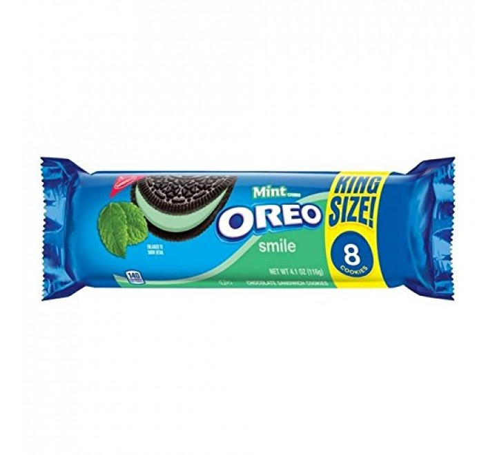 Oreo Smile Mint Creme Cookies, King Size (8-Pack) (116g)